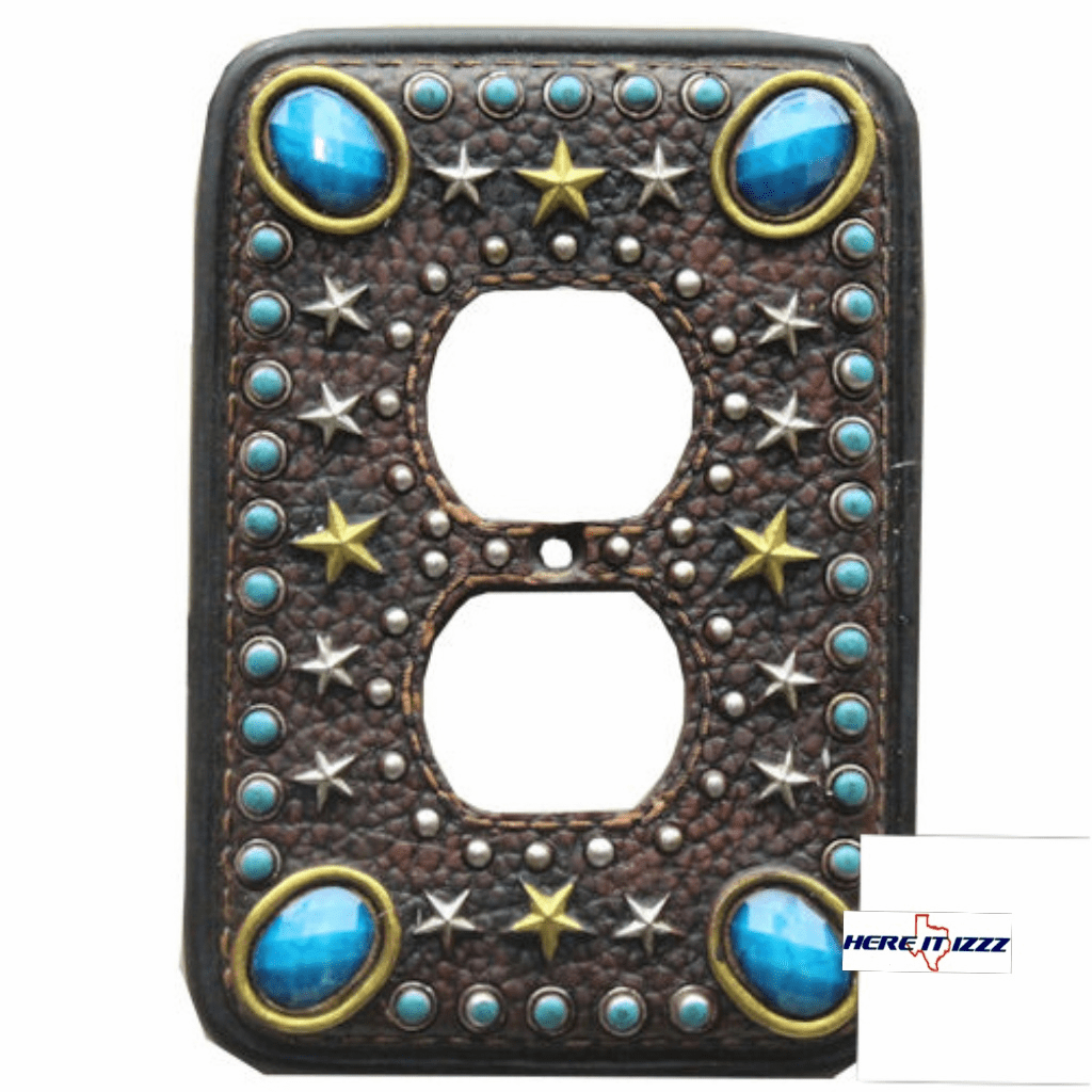 Turquoise Stone with Stars Electrical Outlet Cover
