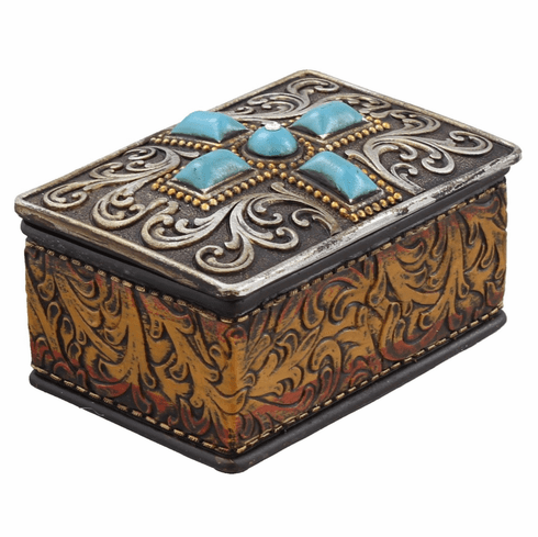 Turquoise Tooled Leather Look Trinket Box
