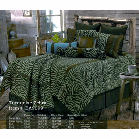 Turquoise Zebra  Bedding Set Queen