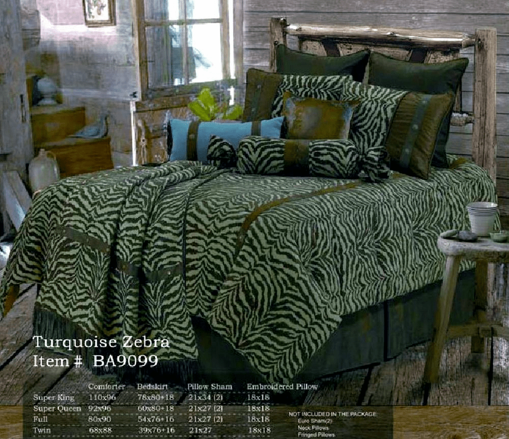 Turquoise Zebra  Bedding Set Twin