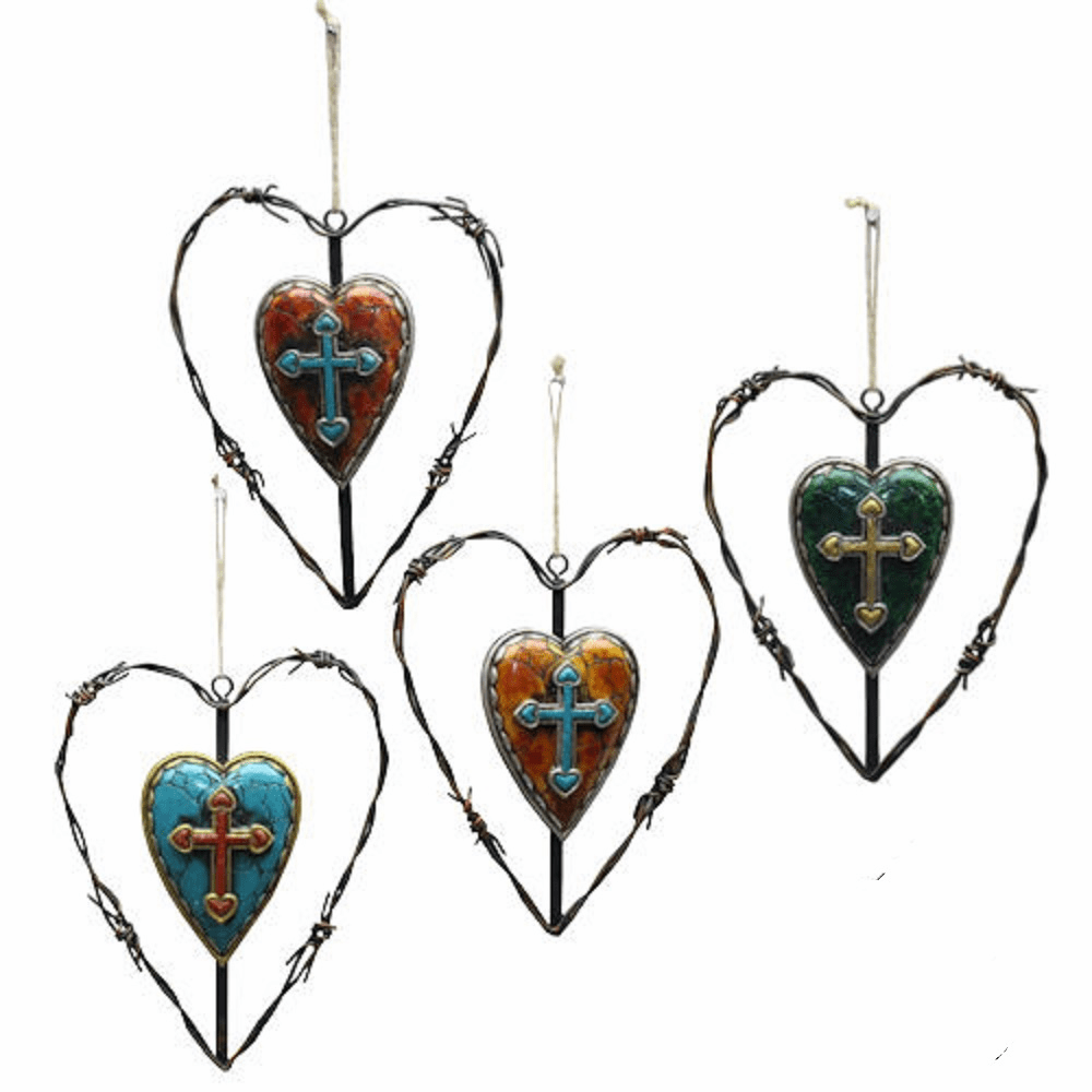Western Barbwire Heart Rustic Cross Ornament Set