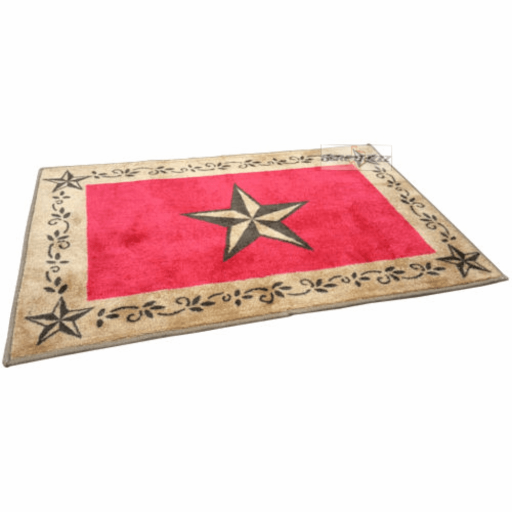 Western Burgundy Star Bath & Kitchen Rug