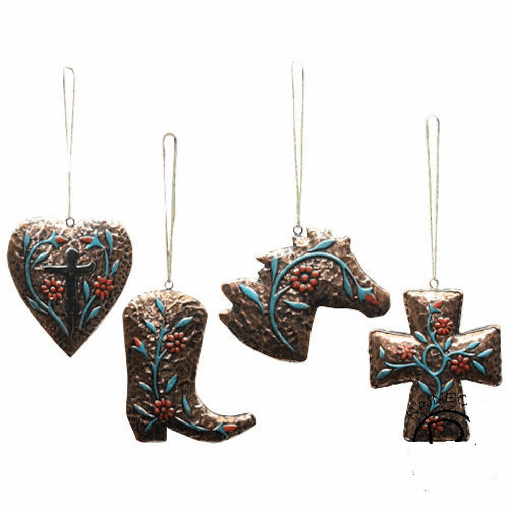 Western Gold 4 Piece Ornament Set