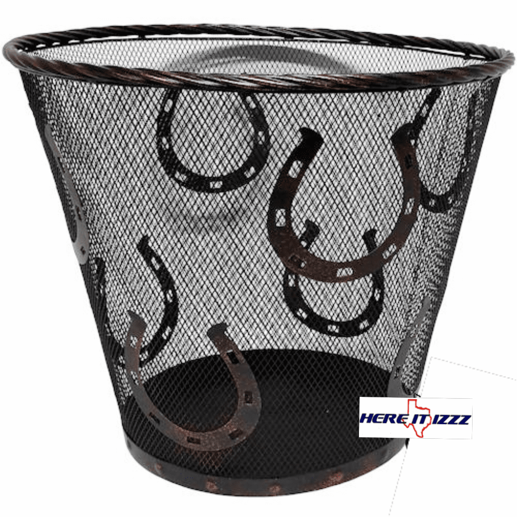 Western Horseshoes Rustic Metal Wastebasket