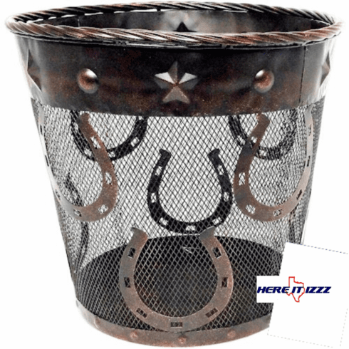 Western Horseshoes With Studs Metal Wastebasket
