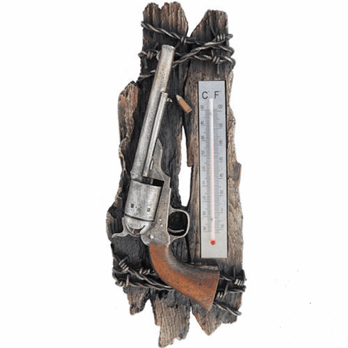 Western Six Shooter Gun Wall Thermometer