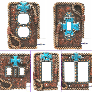 Turquoise Cross  Switch Plates  Outlet Covers