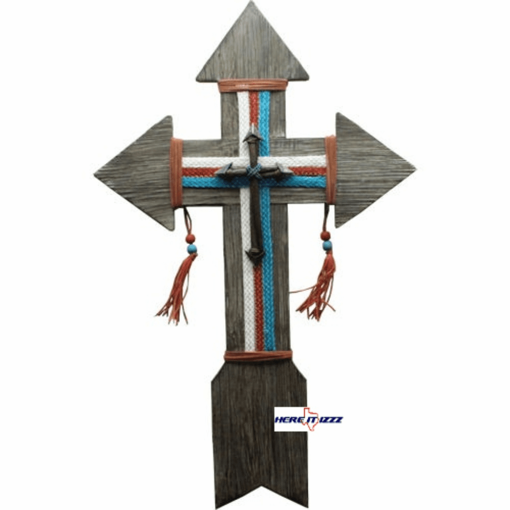 Wooden Arrow Tapestry Wall Cross