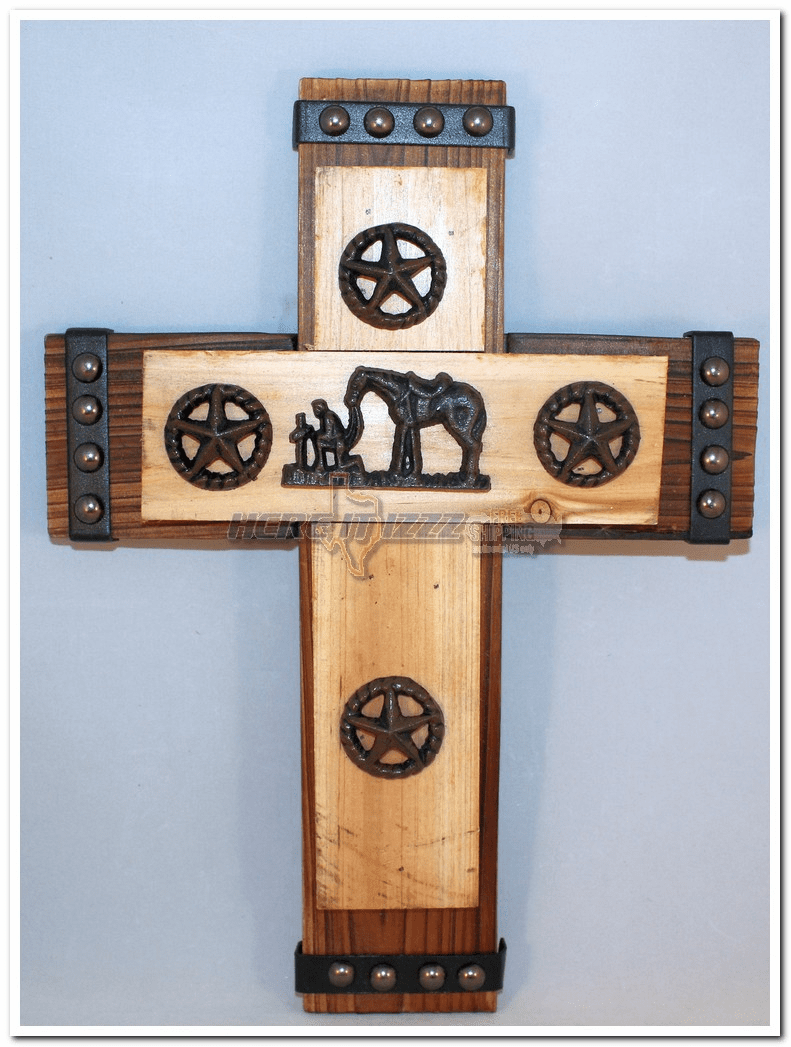 Wooden Praying Cowboy Rustic Star Concho  Cross