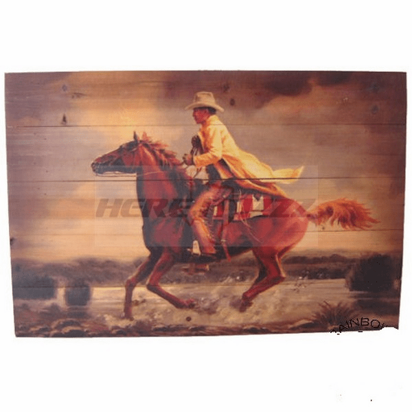 Wooden Running Horse with Cowboy Plank Art