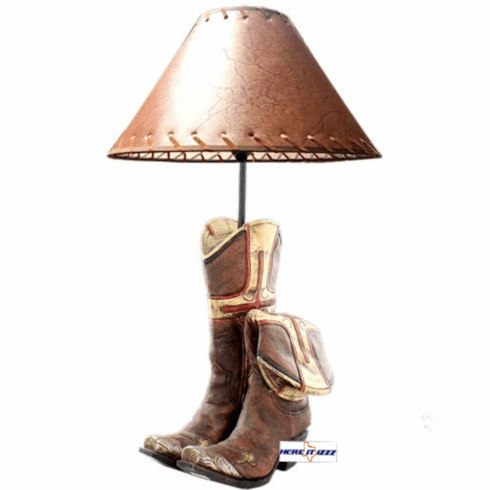 Worn Cowboy Boots With Cross Lamp