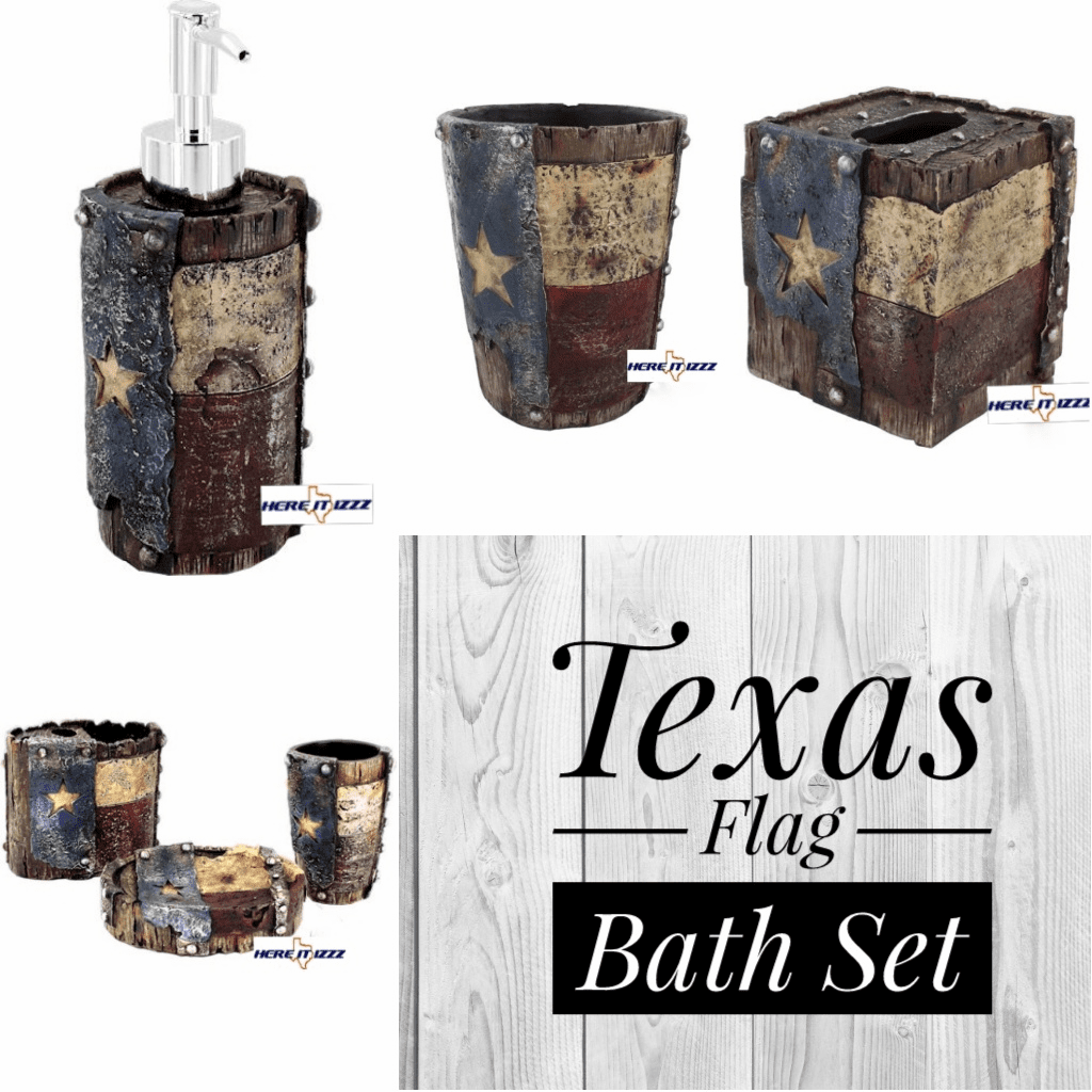 Worn Texas Flag Bath 6 Pcs Set