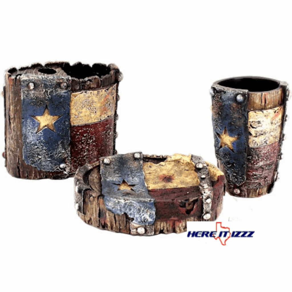 Worn Texas Flag Bath Accessory   Set