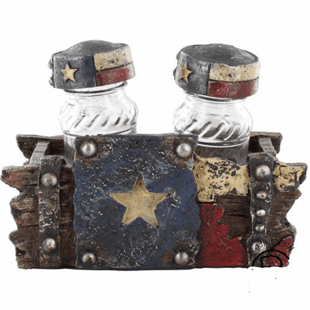 Worn Texas  Flag Salt and Pepper Shaker Set