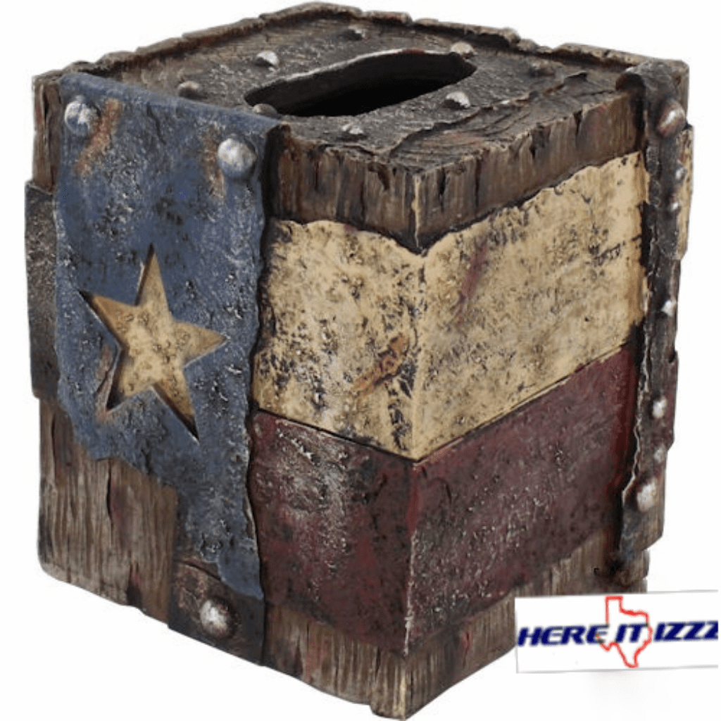 Worn Texas Flag Tissue Box
