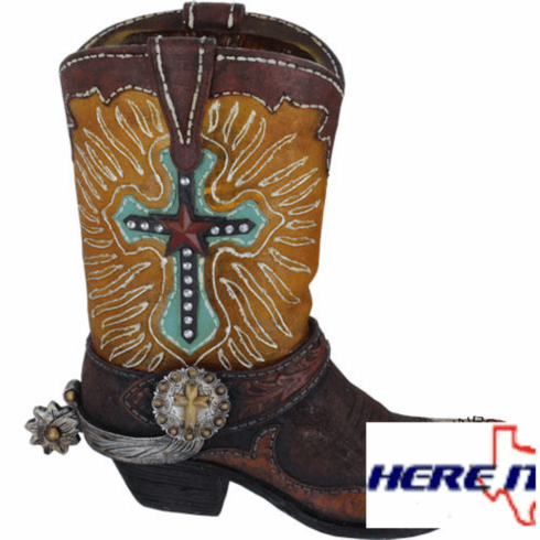 Yellow Cowboy Boot Night Light With Cross
