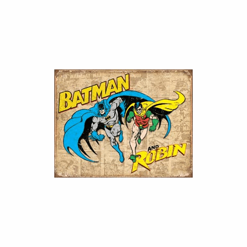 Batman and Robin Weathered Tin Signs