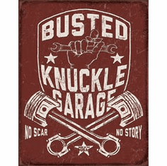 Busted Knuckle Shield Tin Signs