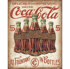 COKE - 5 Bottles Retro Tin Signs