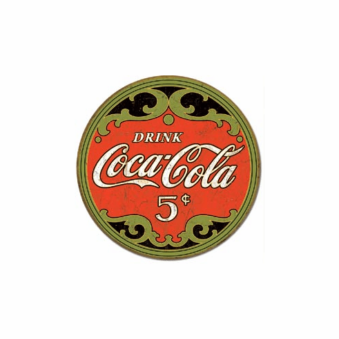COKE - Round 5 Cents Tin Signs