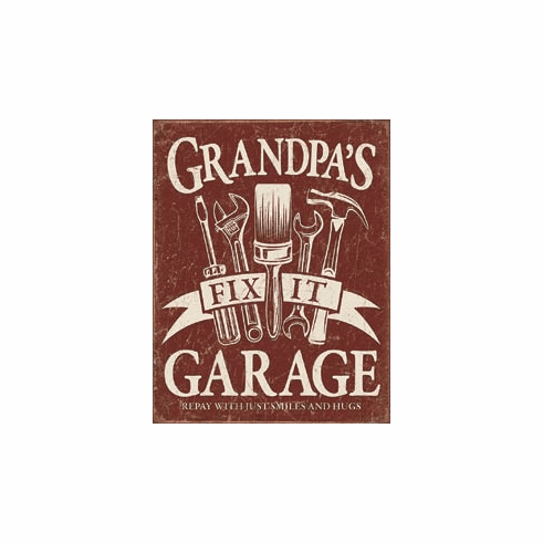 Grandpa's Garage Tin Signs