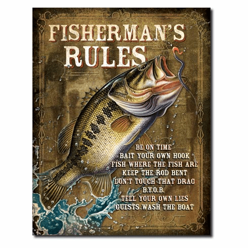 JQ - Fisherman's Rules Tin Signs