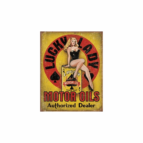 Lucky Lady Motor Oil Tin Signs