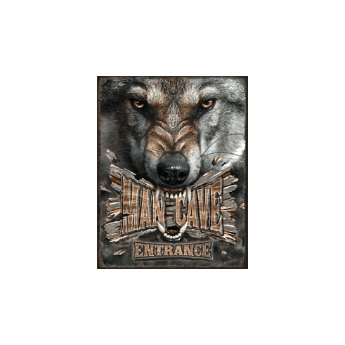 Man Cave Wolf Tin Signs