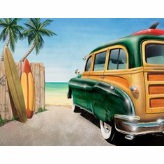 Retro Auto - Beach Woody Tin Signs