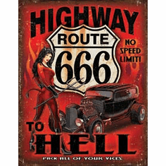 Route 666 - Highway to Hell Tin Signs