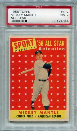 1958 Topps Mickey Mantle All Star #487 PSA 7