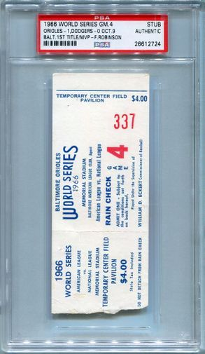 1966 World Series Authentic Ticket Stub - Game 4 (Final) - Baltimore - October 9th