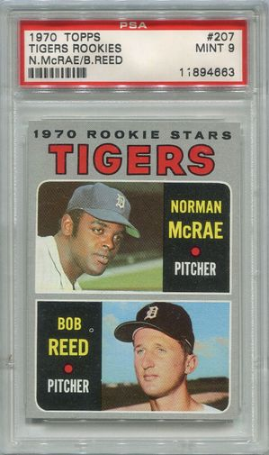1970 Topps Tigers Rookies - McRae / Reed #207 PSA 9
