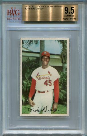 1971 Dell Team Stamps Bob Gibson #273 BGS 9.5