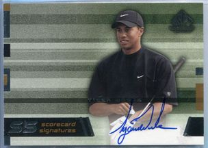 2003 Upper Deck SP Game Used Edition Scorecard Signatures Tiger Woods Autograph #SS-TWS