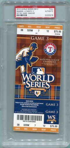 2010 World Series Game 3 Full Ticket (Texas) - October 30th