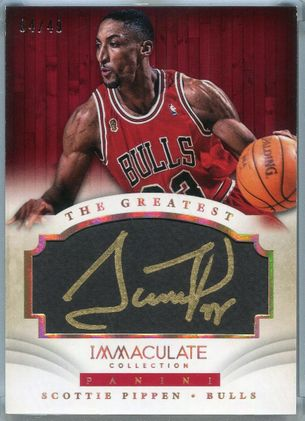2013 Panini Immaculate Collection The Greatest Gold Scottie Pippen Autograph #20 #04/49