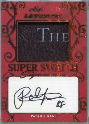 2019 Leaf Ultimate Hockey Super Swatch Signatures Patrick Kane Autograph #SSS-PK1 #10/15