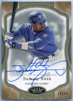 2020 Topps Tier One Sammy Sosa Autograph #T1A-SS #18/50