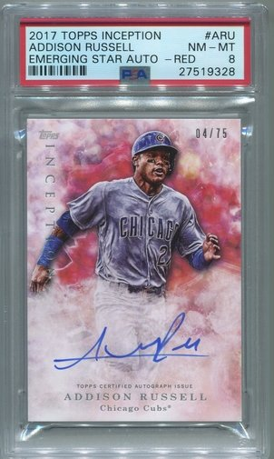 Addison Russell PSA/DNA Certified Authentic Autograph - 2017 Topps Inception #04/75