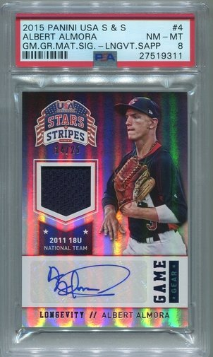 Albert Almora PSA/DNA Certified Authentic Autograph - 2015 Panini USA Stars & Stripes #14/25