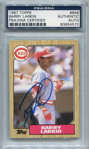 Barry Larkin Rookie PSA/DNA Certified Authentic Autograph - 1987 Topps