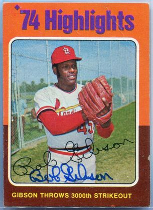 Bob Gibson JSA Certified Authentic Autograph - 1975 Topps #3