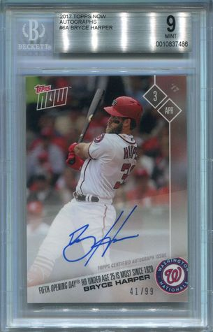 Bryce Harper BGS Certified Authentic Autograph - 2017 Topps Now #6A