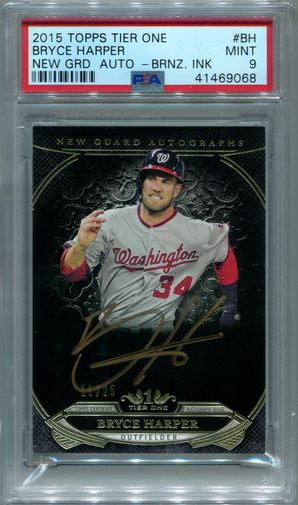 Bryce Harper PSA/DNA Certified Authentic Autograph - 2015 Topps Tier One New Guard #11/25