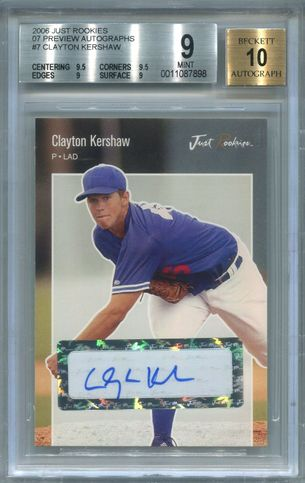 Clayton Kershaw BGS Certified Authentic Autograph - 2006 Just Rookies Preview
