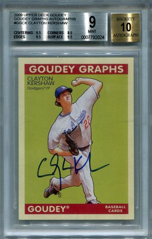 Clayton Kershaw BGS Certified Authentic Autograph - 2009 Upper Deck Goudey
