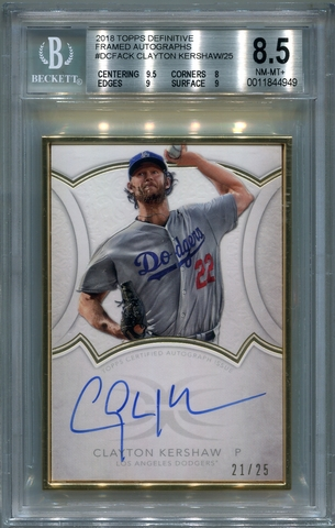 Clayton Kershaw BGS Certified Authentic Autograph - 2018 Topps Definitive #21/25