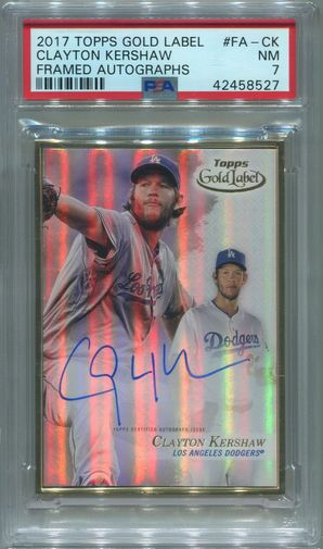 Clayton Kershaw PSA/DNA Certified Authentic Autograph - 2017 Topps Gold Label Framed