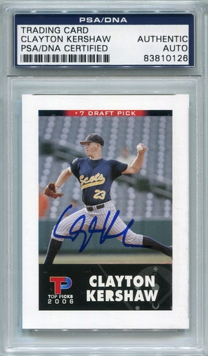 Clayton Kershaw PSA/DNA Certified Authentic Autograph - 2006 Top Picks